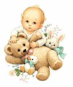 Baby and teddy bear Illustration by Ruth Morehead