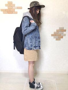 オーバーサイズのGジャンには どうしてもタイトスカートを 合わせてしまいます(>_<)♡♡ Inst