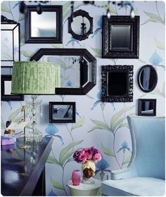 Black mirror frames on top a wonderful wallpaper Mirror Collage, Collage Frames, Painting Frames, Framed Mirrors, Mirror Mirror, Collages, Mirror Walls, Painted Mirrors, Antique Mirrors