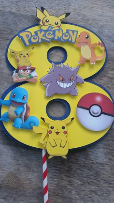 Pokemon cake topper centerpiece cut out by SilviasPartyDecor