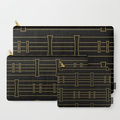 Concave & Stripes - Black/Gold Carry-All Pouch