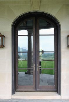 Custom Bronze Clad Wood Windows and Doors from CWM Woodwindows Arched Doors, Arched Windows, Entry Doors, Front Entry, Wood Windows, Windows And Doors, Aluminium French Doors, Exterior Paint Colors, Paint Colours