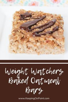 Weight Watchers Baked Oatmeal Bars - 1 point per serving for purple, 2 points for blue and green. Weight Watchers Tips, Weight Watchers Breakfast, Weight Watcher Dinners, Weight Watchers Desserts, Oatmeal Dessert, No Bake Oatmeal Bars, Baked Oatmeal, Ww Recipes, Low Calorie Recipes