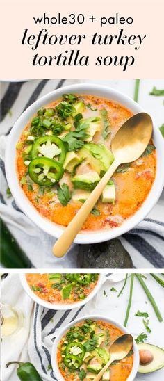 This leftover turkey tortilla soup is made from leftover turkey and is so quick and easy! It's full of flavor and as a tortilla soup it's healthy too. You'll love how delicious this leftover turkey tortilla soup is and how healthy this Paleo Recipes, Real Food Recipes, Soup Recipes, Yummy Recipes, Paleo Ideas, Chili Recipes, Food Ideas, Recipies, Yummy Food