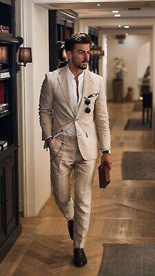 Beige 2 Piece Men Cotton Linen Suit Groom Tuxedo Party Prom Dinner Casual Suit