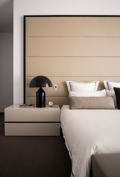 Modern Interior - Beige Leather - Upholstered Wall - Bedroom Furniture - Home Ideas