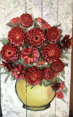 Best 12 Beautiful flower bouquet with pine cones – SkillOfKing. Pine Cone Art, Pine Cone Crafts, Pine Cones, Christmas Ornaments To Make, Christmas Crafts, Wood Crafts, Diy And Crafts, Painted Pinecones, Pine Cone Decorations