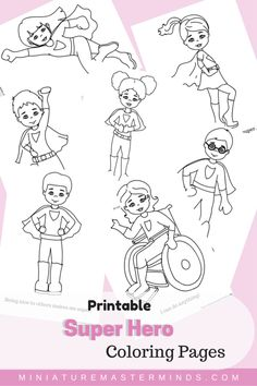 "Free Printable Kid Super Hero Coloring Pages Seven coloring pages of kids as super heroes. We can all be super heroes! Each page has a super saying such as ""Eating Healthy makes me strong!&#8…"