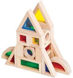 20 Jr Rainbow Blocks in transparent primary colours