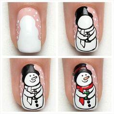 Tutorial – Snowman -Indigo Nails Lab – Find more Inspiration at www. Nail Art Noel, Cute Christmas Nails, Holiday Nail Art, Xmas Nails, Winter Nail Art, Christmas Nail Designs, Christmas Nail Art, Winter Nails, Summer Nails