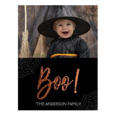 Happy Halloween Boo! Halloween Photo Card - postcard post card postcards unique diy cyo customize personalize