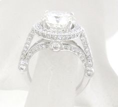 14k white gold round moissanite and diamond engagement ring antique art deco 3.90ctw by KNRINC on Etsy https://www.etsy.com/listing/455064344/14k-white-gold-round-moissanite-and