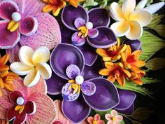 Paper Quilling Tropical Flowers Panel - Pink and Purple Orchids and Frangipani - Flowers Home Wall Decor - Anniversary Gift Quilling Flowers Tutorial, Paper Quilling Flowers, Quilling Work, Paper Quilling Designs, Quilling Patterns, 3d Paper, Paper Crafts, Diy Crafts, Photo Frame Decoration
