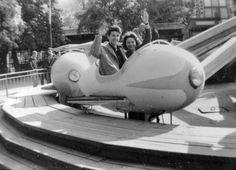airplane in the fun-fair (Budapest, c. 1960)
