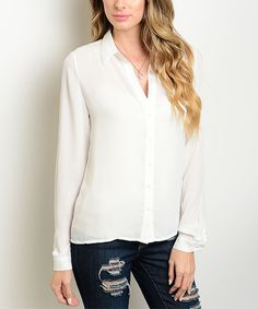 Look at this #zulilyfind! Forever Lily White Crochet-Back Button-Up by Forever Lily #zulilyfinds