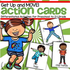Actions Cards Set – Activities for Preschool to Grade – Get Up and MOVE! – April Wilson Actions Cards Set – Activities for Preschool to Grade – Get Up and MOVE! Preschool Movement Activities, Physical Activities For Kids, Free Preschool, Preschool Themes, Preschool Printables, Preschool Lessons, Kindergarten Activities, Preschool Activities, Age For Preschool