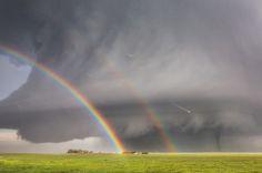 Kelly DeLay - Double rainbow with tornado. Simla, Colorado.