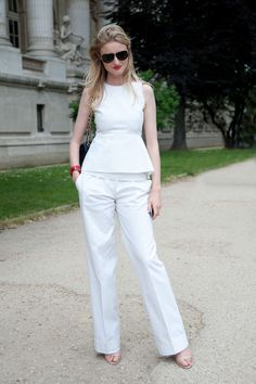 What to Wear to Work Tomorrow: A Peplum Top, Trousers, and Simple Sandals