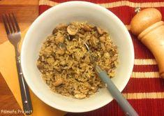 Tojásos gombás pirított rizs   Pálmafa Project Wok, Oatmeal, Breakfast, Desserts, The Oatmeal, Morning Coffee, Tailgate Desserts, Deserts, Rolled Oats