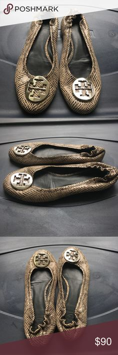 Women's Tory Burch Reva snake skin flats 8.5 Women's Tory Burch snake skin reva ballet flats size 8.5 M. Shoes are tan with brown/dark brown faux snake skin print. Shoes are in excellent used condition with minor wear. Tory Burch Shoes Flats & Loafers