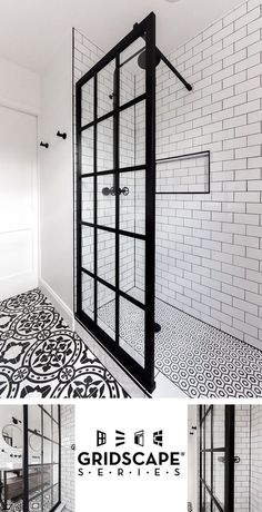 Gridscape Fixed Shower Screen Panel in Black with Clear Glass Coastal Gridscape Splash Panel Glass Divider with Black Factory Window Frame Shower Screen, Bathroom Renovation, Bathroom Inspiration, Bathroom Decor, Bathroom Redo, Bathrooms Remodel, Bathroom Makeover, Tile Bathroom, Bathroom Design