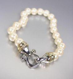 CLASSIC Designer Style Creme Pearls Silver Horsebit Buckle Gold Cable Bracelet