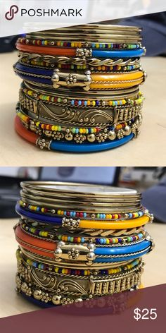 Set of 18 Bracelets - Amrita Singh Bought these Monte Carlo style bangles and wore them once. Materials include: gold tone plated metal, resin and multi-colored resin beads. Amrita Singh Jewelry Bracelets