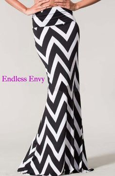 4034b88e518d Long skirt fashion · Black Chevron Zigzag Print High Waist Foldover Flared Maxi  Skirt #ootd #wiwt #skirt