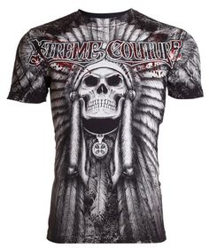 Xtreme Couture AFFLICTION Mens T-Shirt PALA Skull Indian Biker MMA UFC M-4XL $40 #Affliction #GraphicTee