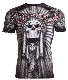 Xtreme Couture AFFLICTION Mens T-Shirt PALA Skull Indian Biker MMA UFC M-4XL $40 #Affliction #GraphicTee