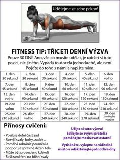 30 denní výzvy - Life by Tess♥ - Hryprodivky. Body Fitness, Fitness Tips, Health Fitness, Training Programs, Workout Programs, Dance Program, Nova, Sports Activities, Excercise
