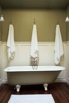 When we renovate our hall bath we will definitely be adding the wainscoting and painting the clawfoot tub!