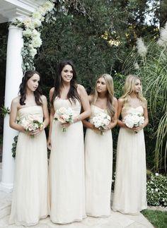 Long strapless flowing Cream bridesmaid dresses Too bridal?