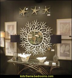 Coral Branches Sunburst Wall Mirror