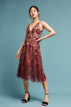 0bdaf9fb6c96 Slide View: 1: Sequined Floral Dress Red Accessories, Red Jewelry, Fashion  Jewelry
