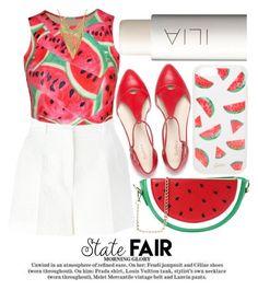 """SUMMER DATE #statefair"" by noraaaaaaaaa ❤ liked on Polyvore featuring Ilia, Sonix, Dolce&Gabbana, WithChic, watermelon, statefair and summerdate"
