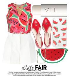 """SUMMER DATE #statefair"" by noraaaaaaaaa ❤ liked on Polyvore featuring Ilia, Sonix, Dolce&Gabbana, WithChic, watermelon, statefair and summerdate"