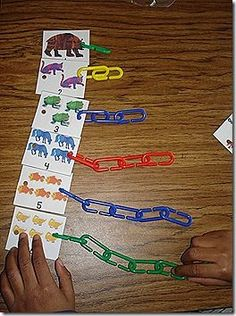 Idea for counting and colors. using brown bear printables, make eric carle chain with giant paper clips (or smaller ones) LOVE THIS SO MUCH! I hope someone from TS does this. Numbers Preschool, Math Numbers, Preschool Classroom, Kindergarten Math, Classroom Activities, Teaching Math, Book Activities, Kindergarten Smorgasboard, Classroom Projects