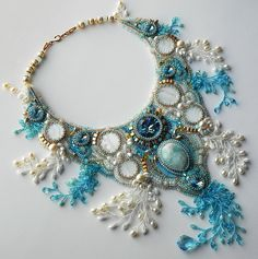 Beautiful embroidered jewelry by Alena Cilenticyriver(Part II) Click on link tosee more photos - http://beadsmagic.com/?p=7235