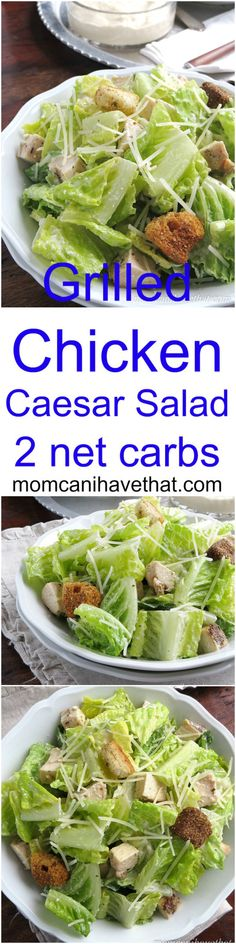 Grilled Chicken Caesar Salad with a lemony dressing is a great Summer meal at 3 net carbs!| Low Carb, Gluten-free, Keto | momcanihavethat.com