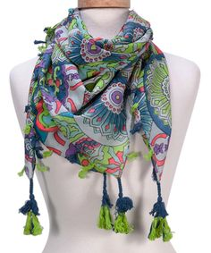 Love this Lime Floral Tassel Scarf by Tickled Pink on #zulily! #zulilyfinds