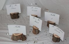 Wood Place Card Holders Wood Table Number Holders Set by gypsytree, $21.00