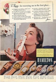 Vintage Magazine Ad - 1940 - Hamilton Watches - Christmas  (color)