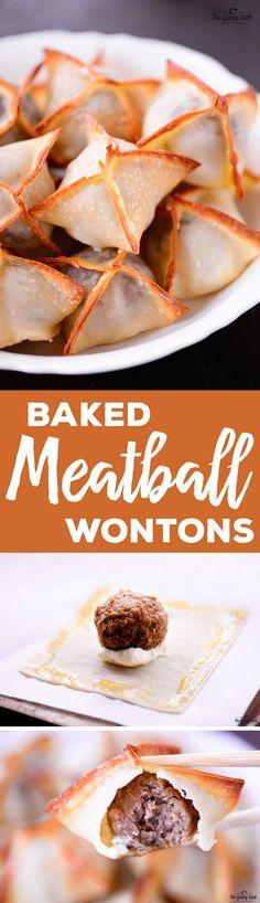 This Baked Meatball Wontons recipe is a delicious party appetizer with a flavorful meatball and melted cream cheese wrapped in a crunchy wonton! #ad