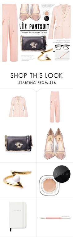 """""""The PantSuit"""" by firstboutique ❤ liked on Polyvore featuring Versace, Semilla, LeiVanKash, Marc Jacobs, Kate Spade, Faber-Castell and thepantsuit"""