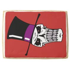 Mr Skull Shortbread Cookie - red gifts color style cyo diy personalize unique