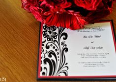 My custom DIY black, white, and red wedding invitations