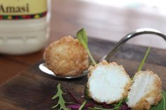 A fine dining take on a township staple. Amasi made into a crumbed cheese ball.pairs with a fine toasted pap in coconut cream and citrus dressings Cheese Ball, Coconut Cream, Food Truck, Fine Dining, Dressings, Pantry, Menu, Homemade, Inspiration