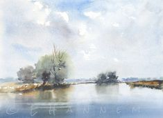 Doodlewash and watercolor painting by Edo Hannema of De Biesbosch Noordwaard