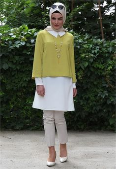 Elegant tunic with hijab look and tights style - Fashion Modern Hijab Fashion, Islamic Fashion, Abaya Fashion, 50 Fashion, Modest Fashion, Style Fashion, Fashion Dresses, Ethnic Outfits, Stylish Outfits